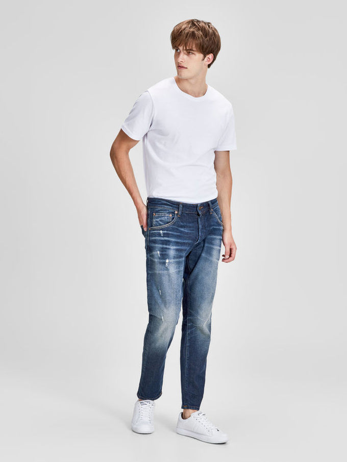 FRED 115 TAPERED FIT CROPPED JEANS BLUE DENIM