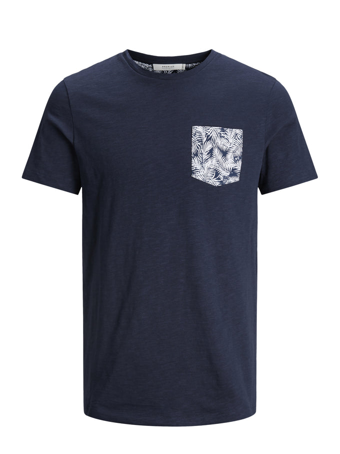 FLORAL POCKET PREMIUM T-SHIRT NAVY