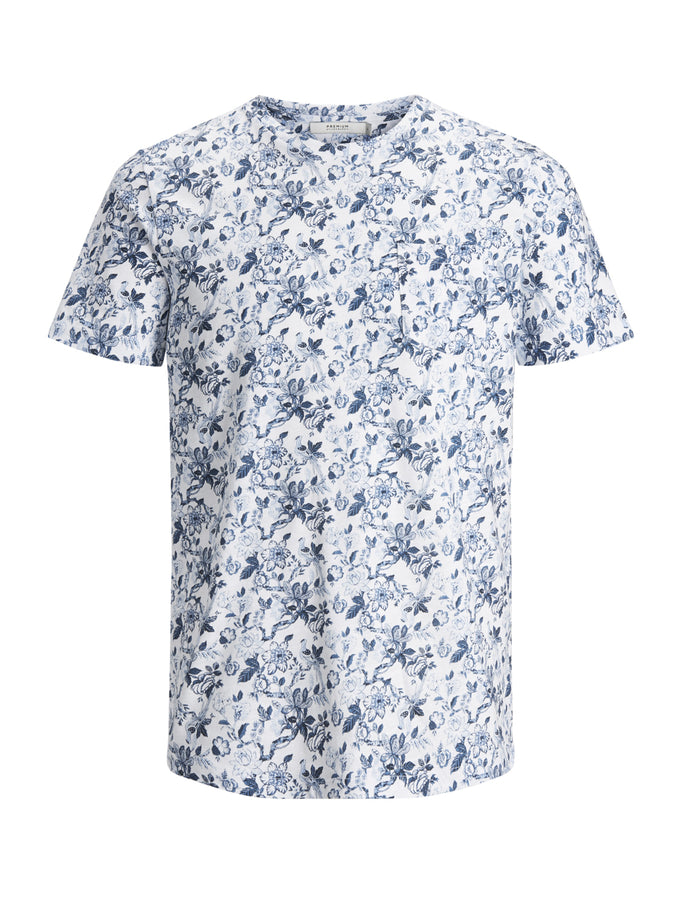 FLORAL POCKET PREMIUM T-SHIRT WHITE/BLUE