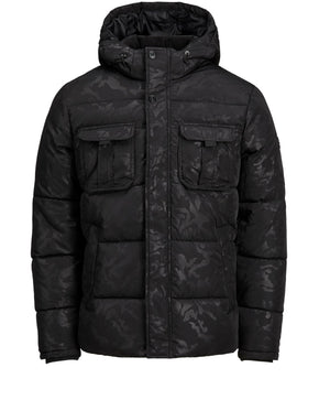PADDED CAMO JACKET WITH DETACHABLE HOOD