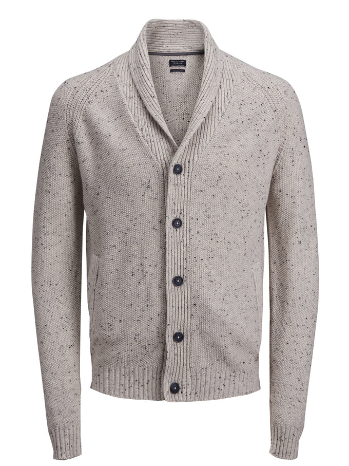 TWO-TONE PREMIUM CARDIGAN OATMEAL