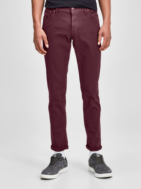 GLENN 696 INDIGO KNIT STRETCH BURGUNDY JEANS