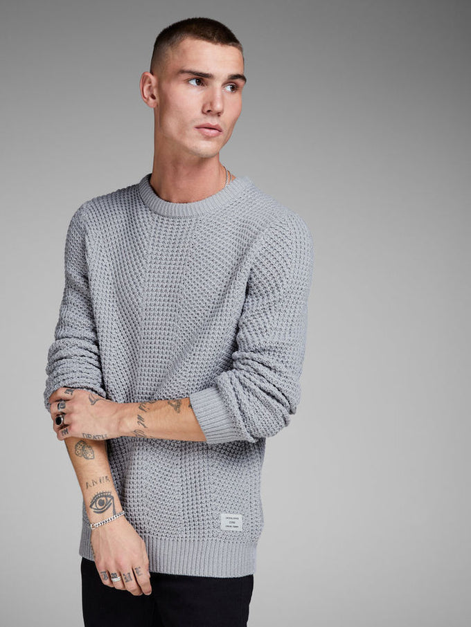 LOOSE FIT CORE SWEATER LIGHT GREY MELANGE