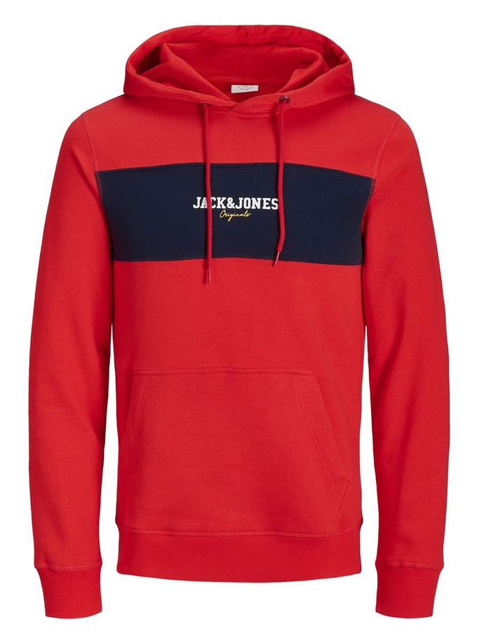 COLOURBLOCK LOGO HOODIE FIERY RED