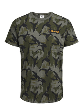 T-SHIRT CAMO COUPE LONGUE À BRODERIES