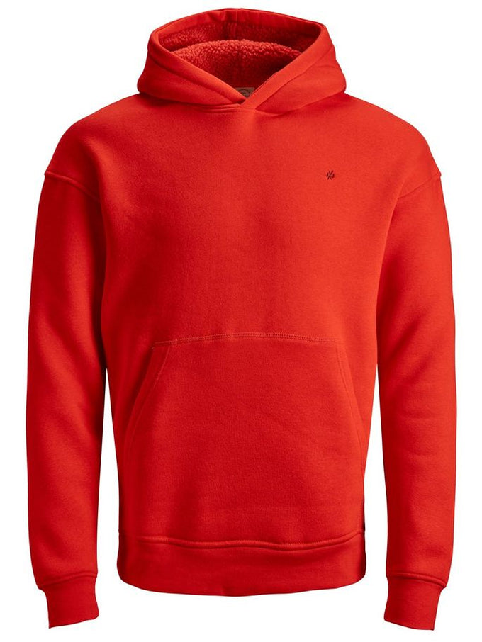 COLOURFUL HOODIE WITH TEDDY LINING FIERY RED