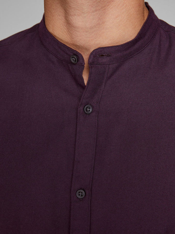MANDARIN COLLAR CASUAL SHIRT POTENT PURPLE