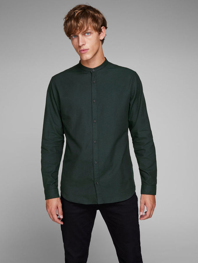 MANDARIN COLLAR CASUAL SHIRT SCARAB