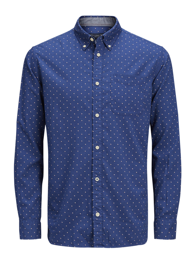 SLIM FIT MICRO-PRINT SHIRT ESTATE BLUE