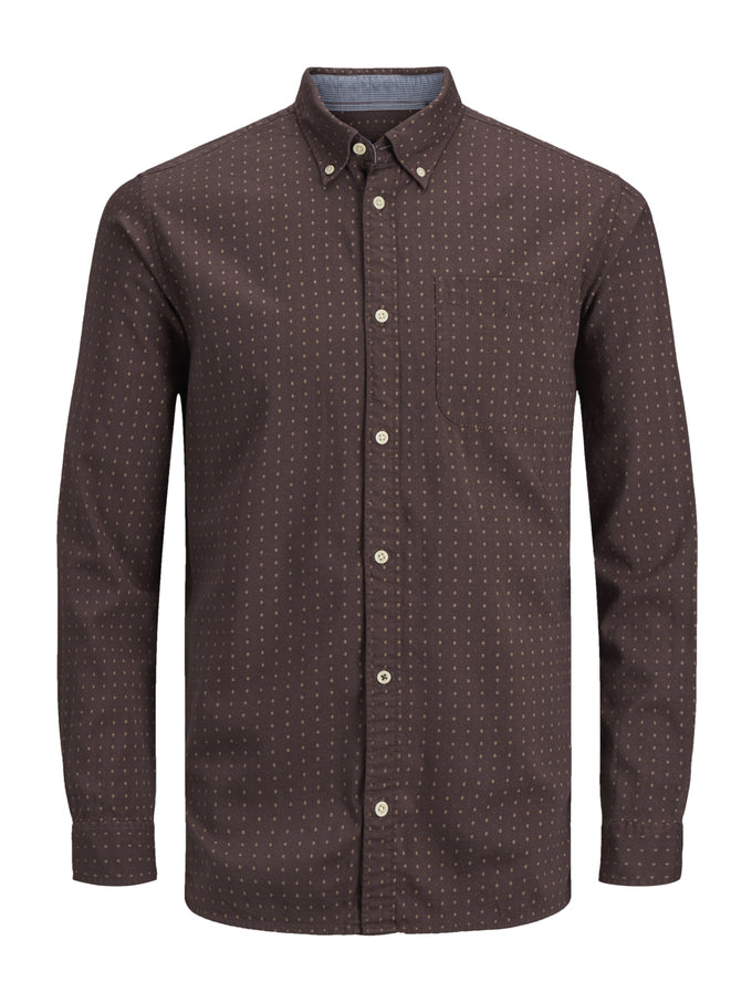 SLIM FIT MICRO-PRINT SHIRT FUDGE
