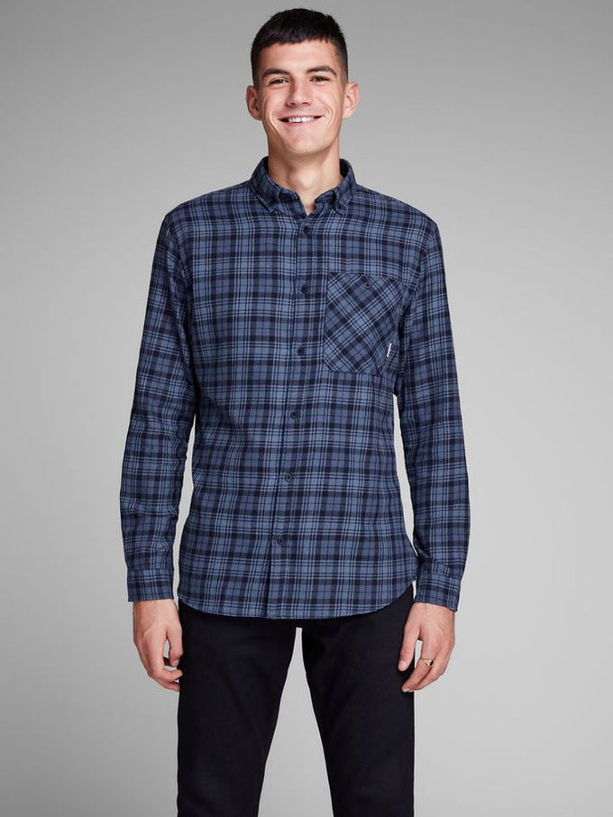CHECKERED SHIRT WITH CONTRAST POCKET SKY