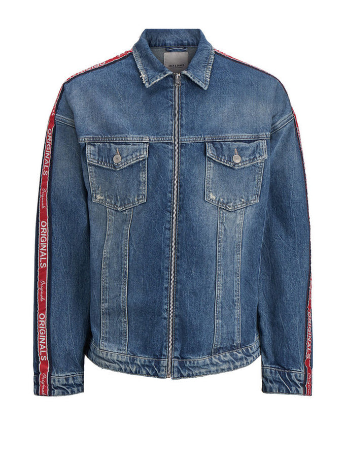 VESTE EN DENIM AMPLE À BANDES DENIM BLEU