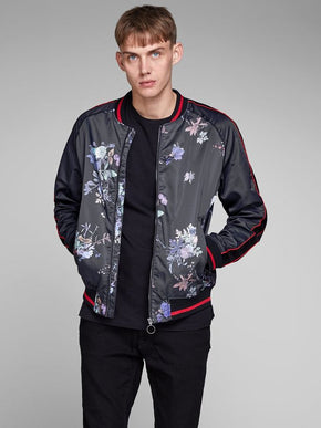 FLORAL BOMBER JACKET WITH VELVET DETAILS