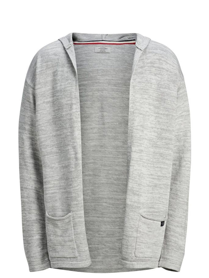 CARDIGAN COUPE AMPLE À CAPUCHON GRIS PALE