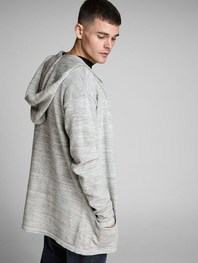 OVERSIZE HOODED CARDIGAN LIGHT GREY MELANGE