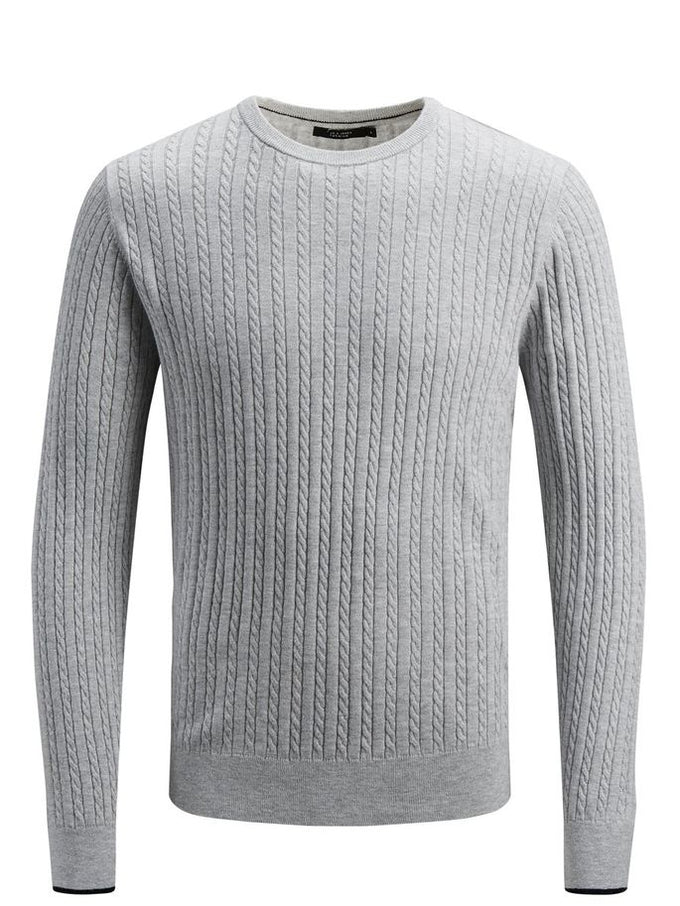 CABLE KNIT STRETCHY SWEATER ALLOY