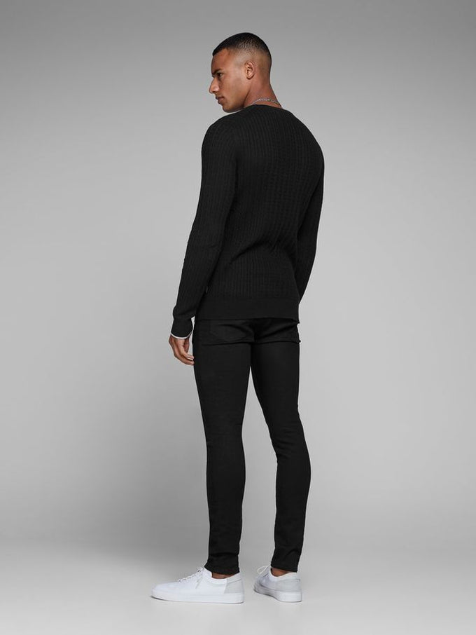 CABLE KNIT STRETCHY SWEATER BLACK