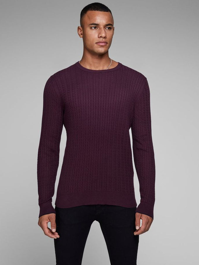CABLE KNIT STRETCHY SWEATER POTENT PURPLE