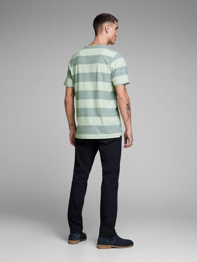 PREMIUM STRIPED POCKET T-SHIRT DUCK GREEN