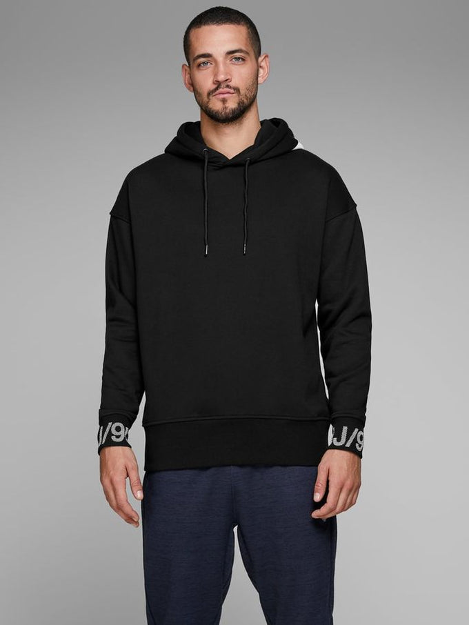 CORE HOODIE WITH RUBBER PRINTS BLACK