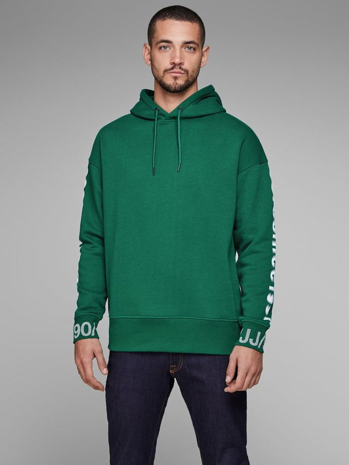 CORE HOODIE WITH RUBBER PRINTS EVERGREEN
