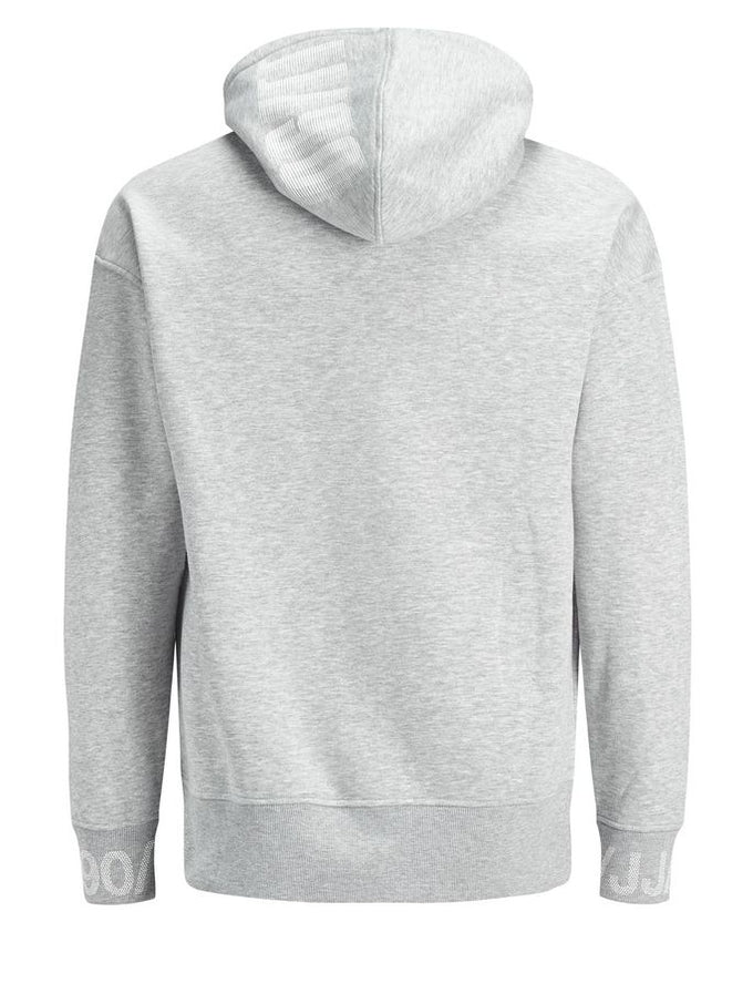 CORE HOODIE WITH RUBBER PRINTS LIGHT GREY MELANGE