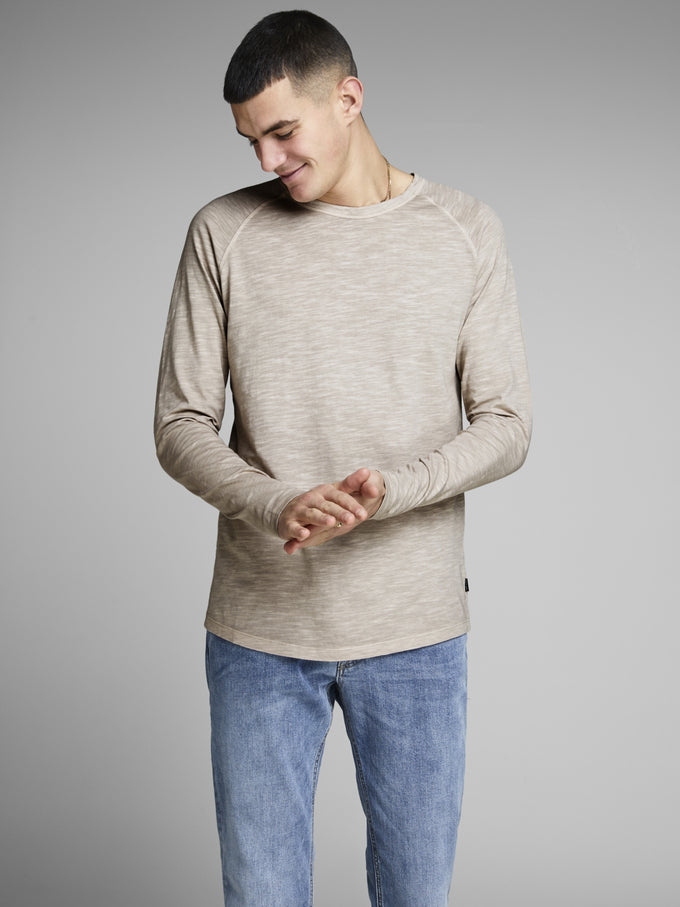 PREMIUM WASHED LONG SLEEVE T-SHIRT WHITE PEPPER