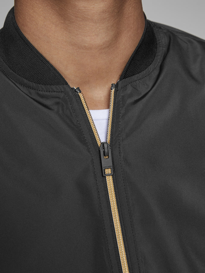 BOMBER JACKET WITH GOLDEN ZIPPER BLACK