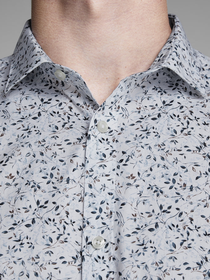 SLIM FIT PREMIUM FLORAL SHIRT WHITE