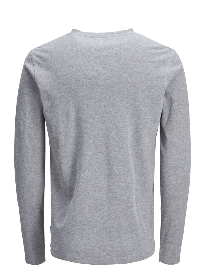 WAFFLE KNIT HENLEY T-SHIRT LIGHT GREY MELANGE