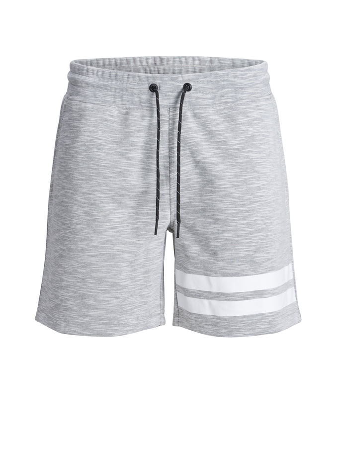 HEATHERED SHORTS WITH STRIPES WHITE