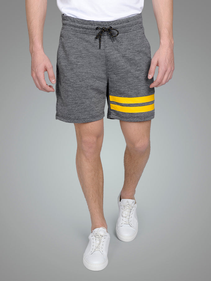 HEATHERED SHORTS WITH STRIPES BLACK