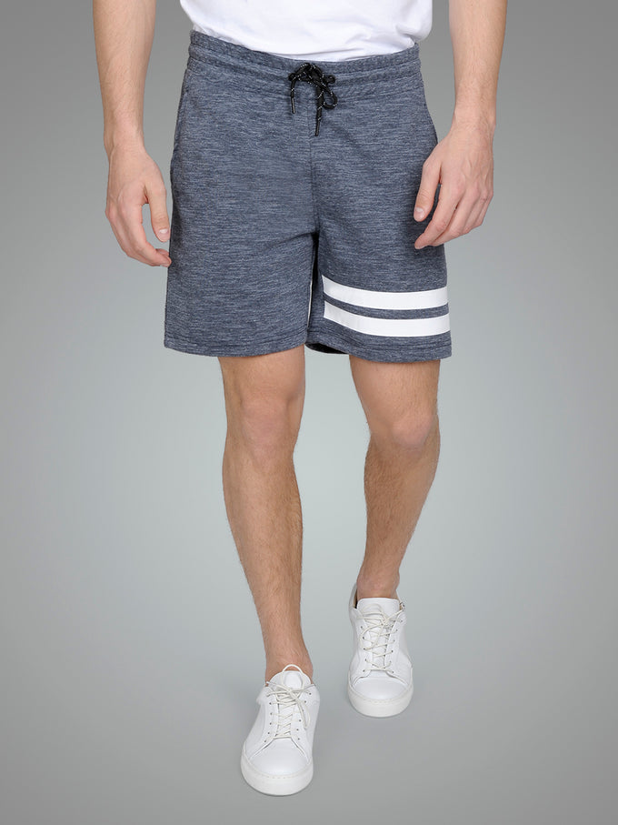 HEATHERED SHORTS WITH STRIPES SKY CAPTAIN