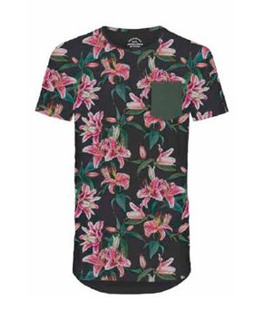 FLORAL LONG FIT T-SHIRT WITH POCKET