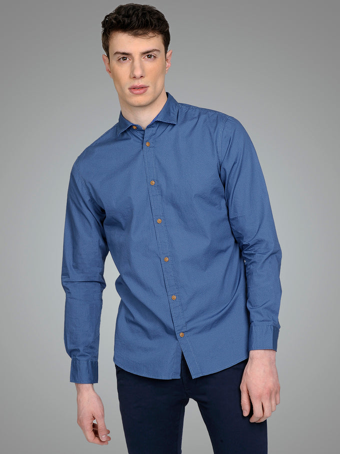 PREMIUM SLIM FIT PATTERNED SHIRT CHINA BLUE