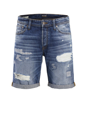 RICK 857 DENIM SHORTS WITH USED DETAILS