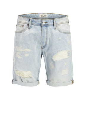 RICK 858 DENIM SHORTS WITH USED DETAILS