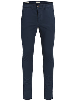 NAVY SKINNY FIT CHINO PANTS
