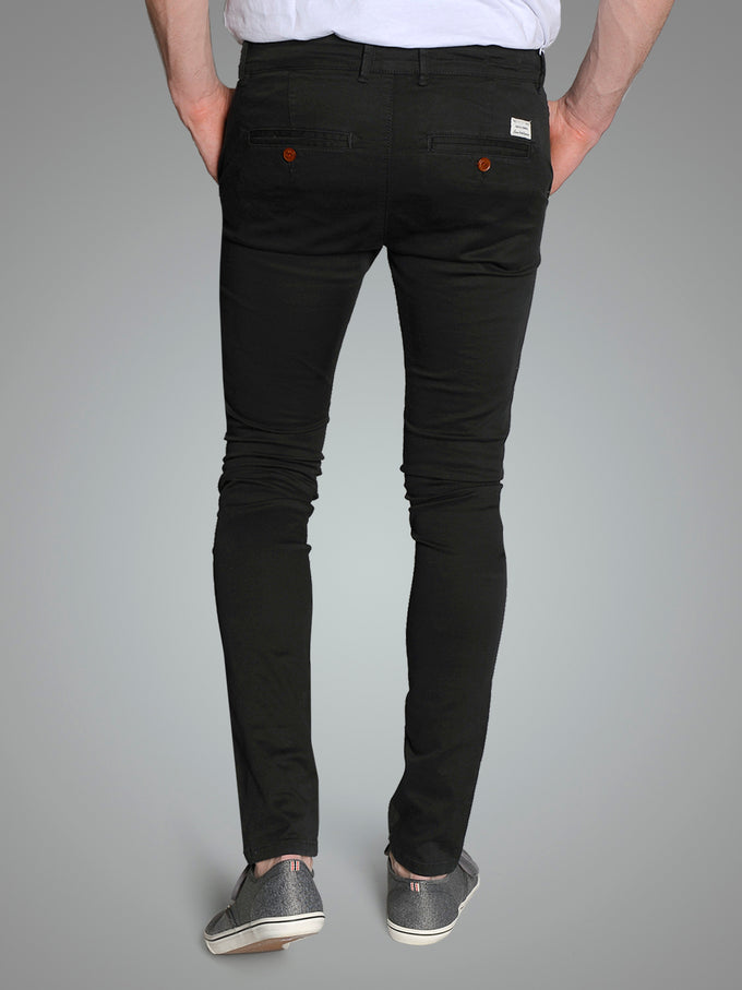 BLACK SKINNY FIT CHINO PANTS BLACK