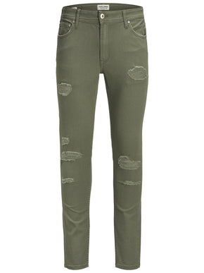 SKINNY FIT RIPPED LIAM 627 GREEN JEANS