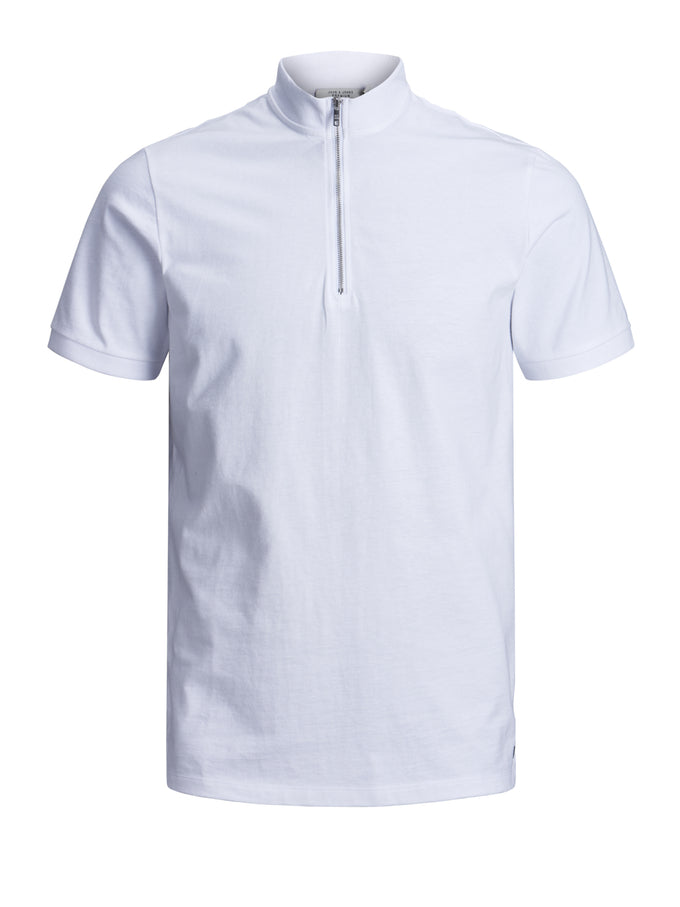HIGH-NECK ZIPPED POLO WHITE