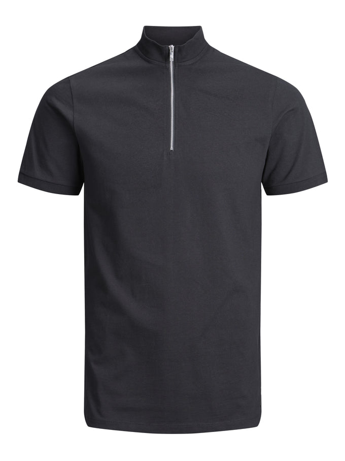 HIGH-NECK ZIPPED POLO BLACK