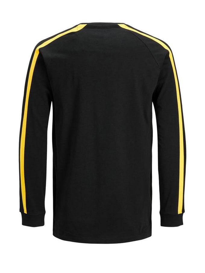 LONG SLEEVE T-SHIRT WITH STRIPED SIDES BLACK