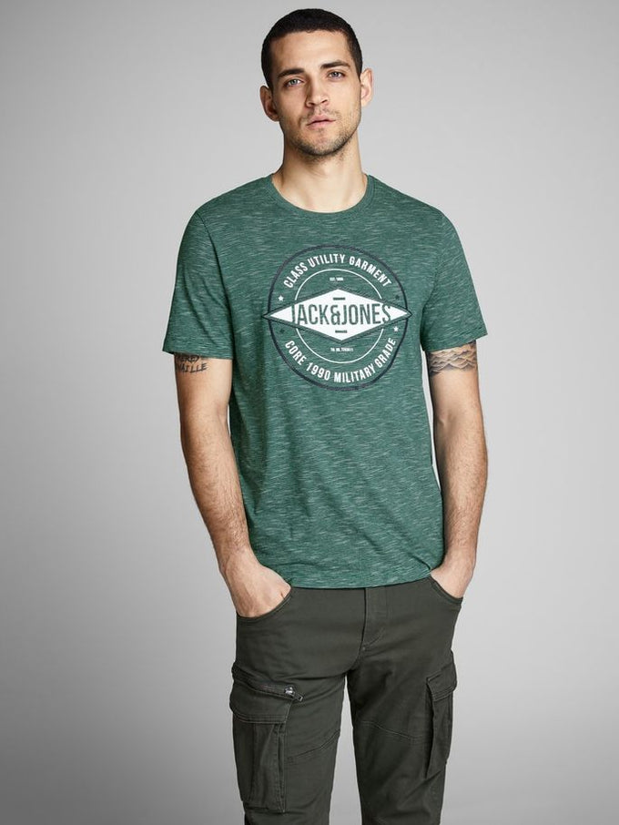 CORE T-SHIRT WITH FINE STRIPES EVERGREEN