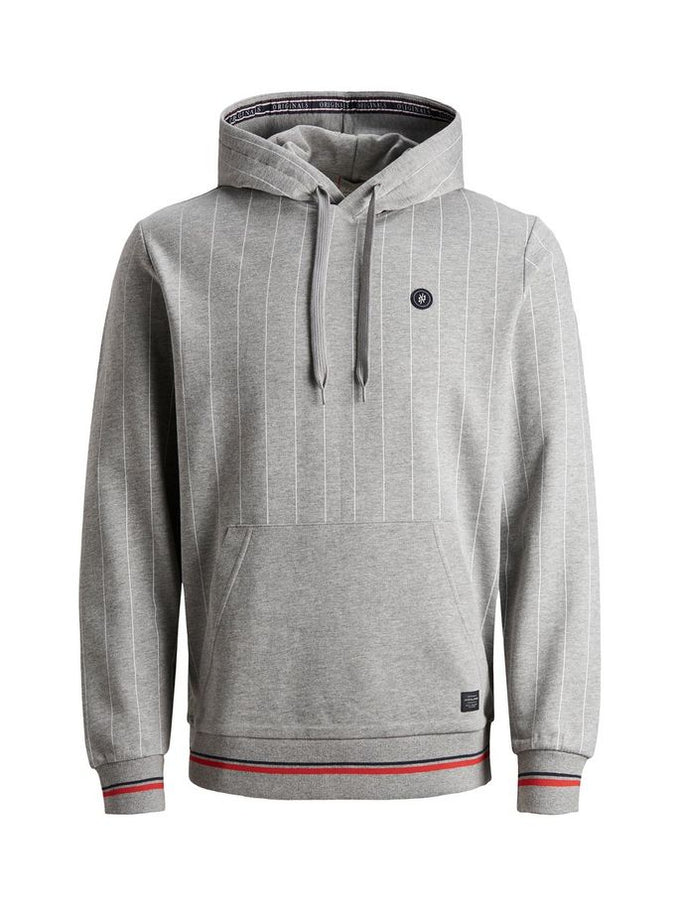 BASEBALL INSPIRED PINSTRIPE HOODIE LIGHT GREY MELANGE