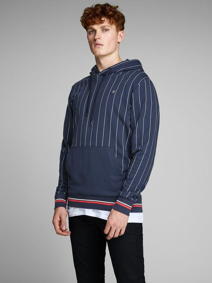 BASEBALL INSPIRED PINSTRIPE HOODIE TOTAL ECLIPSE