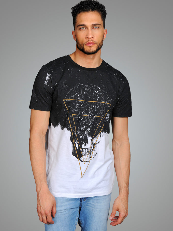 T-SHIRT SPACE BLACK BLANC