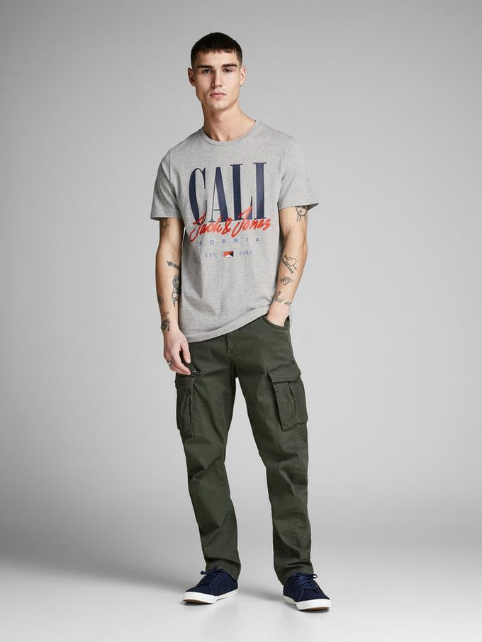 BROOKLYN & CALI T-SHIRT LIGHT GREY MELANGE