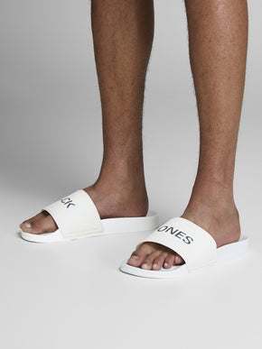 JACK & JONES WHITE POOL SLIDERS