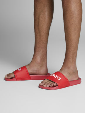 JACK & JONES RED POOL SLIDERS